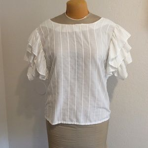 Vintage ruffled shoulder blouse, Medium